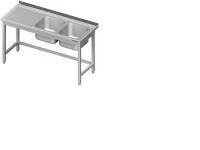 Nerezový umývací stôl s dvoma drezmi. Stôl je celozváraný. Možnosť vyrobiť nábytok na objednávku s atypickými rozmermi podľa potreby zákazníka.(078)