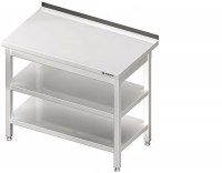 Zváraný pracovný stôl z nerezovej ocele so zadným lemom a dvomi policami. Rôzne rozmery. Stôl je celozváraný. Možnosť vyrobiť nábytok na objednávku s atypickými rozmermi podľa potreby zákazníka. 006 a 007